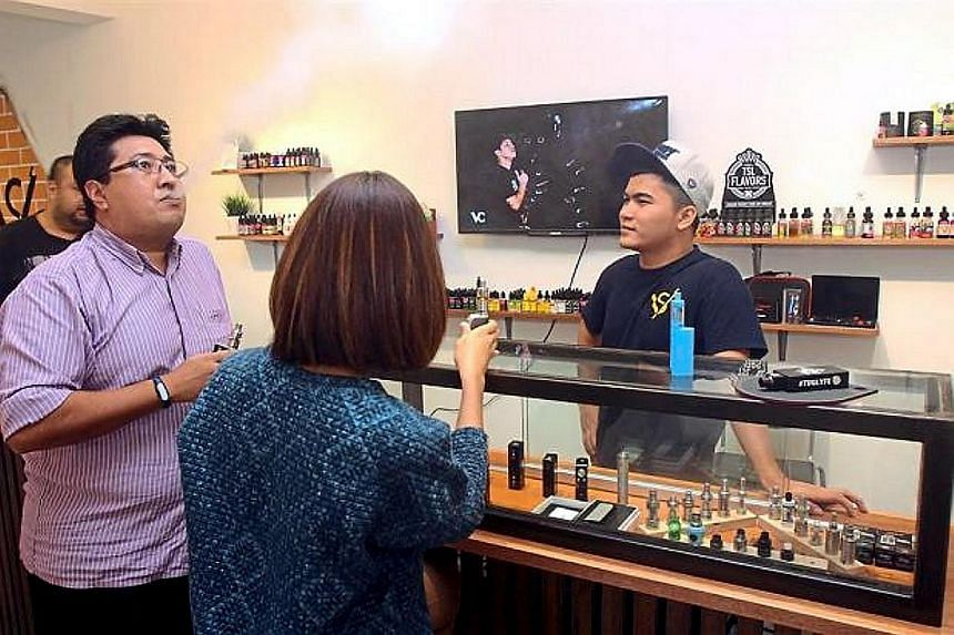A vape shop in Malaysia. Any move to curb e-cigarette use in the country is politically sensitive as most of the shops seling e-cigarettes and vape liquids are owned by Malays.