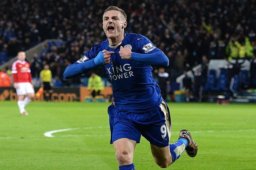 Jamie Vardy after scoring against United in Saturday's 1-1 draw to become the first player to score in 11 consecutive EPL games.