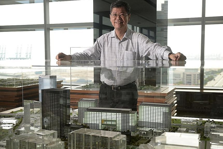 "Mapletree CEO Hiew Yong Khong - seen here with a model of the Alexandra Precinct, home to Mapletree Business City I, the upcoming Mapletree Business City II and PSA Building - said that while Asia ""has proven to be able to generate returns"", Mapletre"