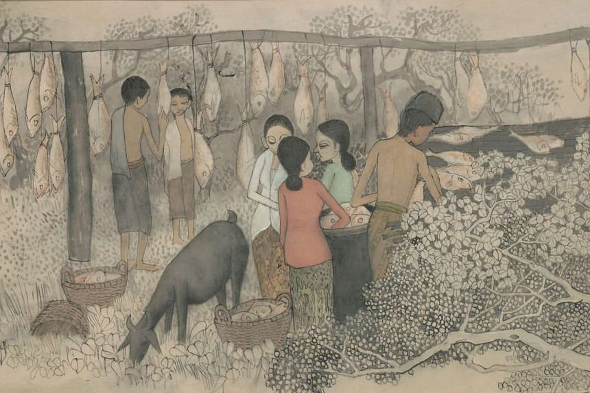 Cheong Soo Pieng's Drying Salted Fish, which is featured on the back of the $50 note.