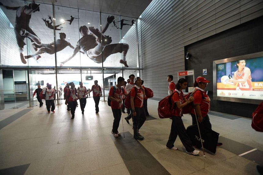 Team Singapore contingent gathered outside Stadium MRT station on Monday morning to bid farewell to their loved ones before boarding the trains.