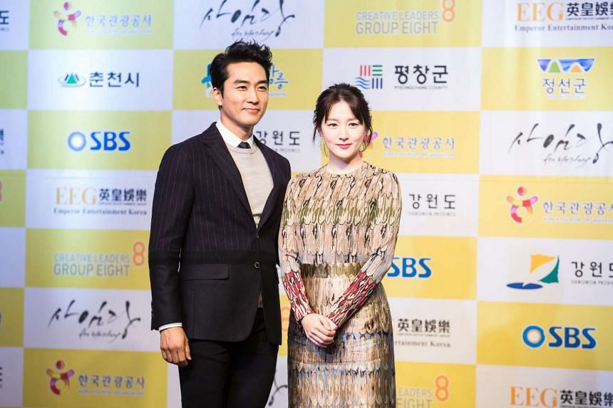 Korean actress Lee Young Ae and her co-star Song Seung Heon at the press conference to promote K-drama Saimdang, the Herstory in Korea, Gangwon.