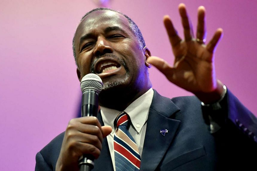 US Republican presidential candidate Ben Carson speaks at a campaign event in Nevada