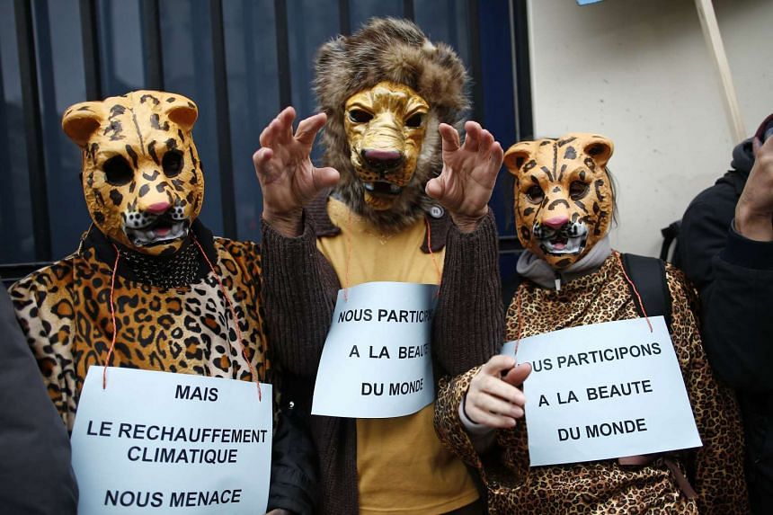 """People in animal costumes marching in Paris on Sunday with signs saying: """"We participate in the beauty of the world but climate warming threatens us""""."""