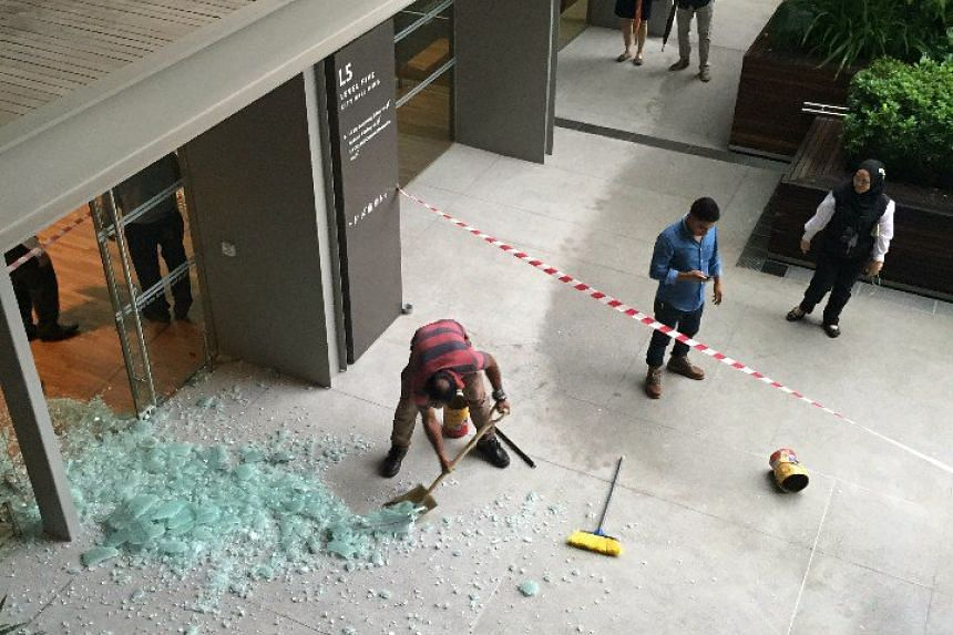 The shattered glass door at the National Gallery.