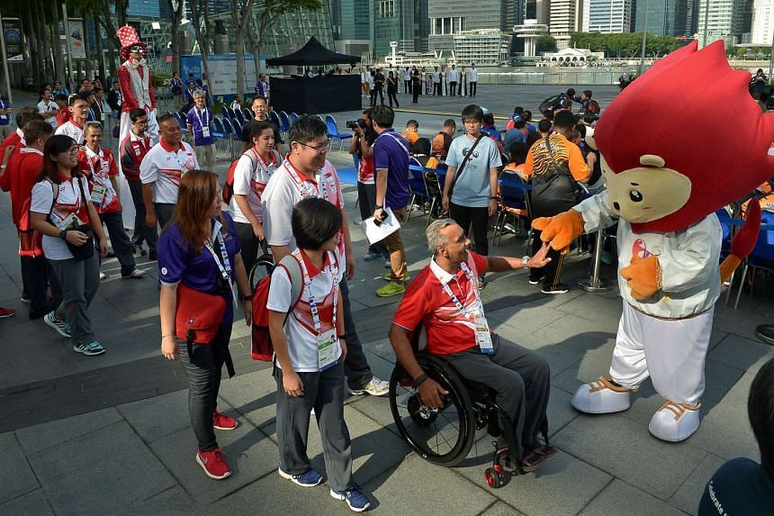 Raja Singh, chef de mission of the Singapore contingent to the 8th Asean Para Games leading the Singapore contingent.