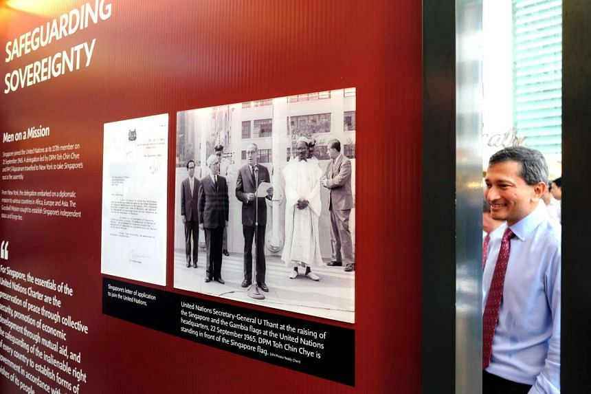 Foreign Minister Vivian Balakrishnan at the exhibition on Singapore's foreign policy on Dec 1, 2015.