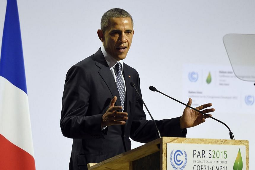 US President Barack Obama at the COP21 World Climate Change Conference 2015 in Le Bourget, north of Paris, France, on Nov 30, 2015.