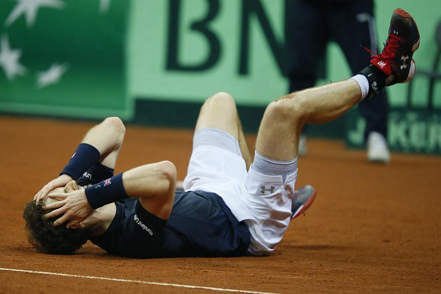 Andy Murray celebrates after beating Belgium's David Goffin to win the Davis Cup.