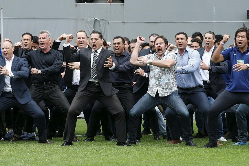 Former and present All Black's performing the Haka as former All Black Jonah Lomu's casket is carried out of Eden Park.