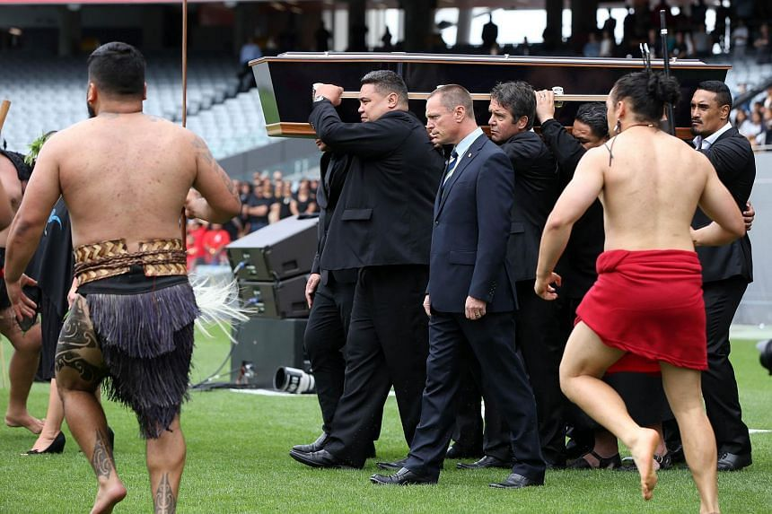 The casket of late New Zealand All Blacks rugby legend Jonah Lomu being carried onto Eden Park.