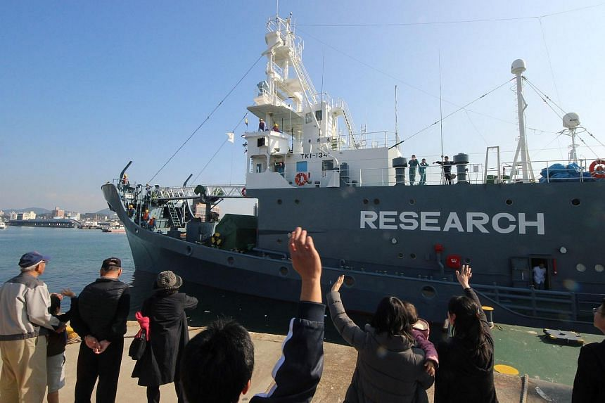 A Japanese whaling ship leaving the port of Shimonoseki in Yamaguchi prefecture on Dec 1.