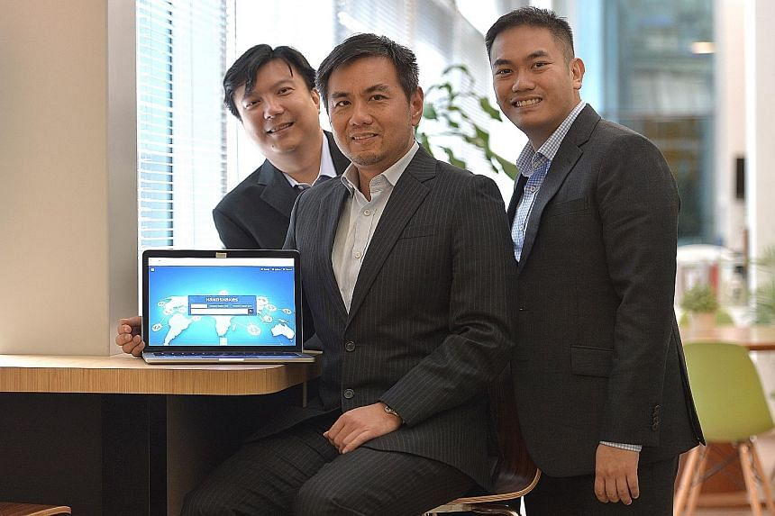 The DC Frontiers team (from left) co-founder Charles Poon, head of strategy and business development Lawrence Ng, and co-founder Daryl Neo.