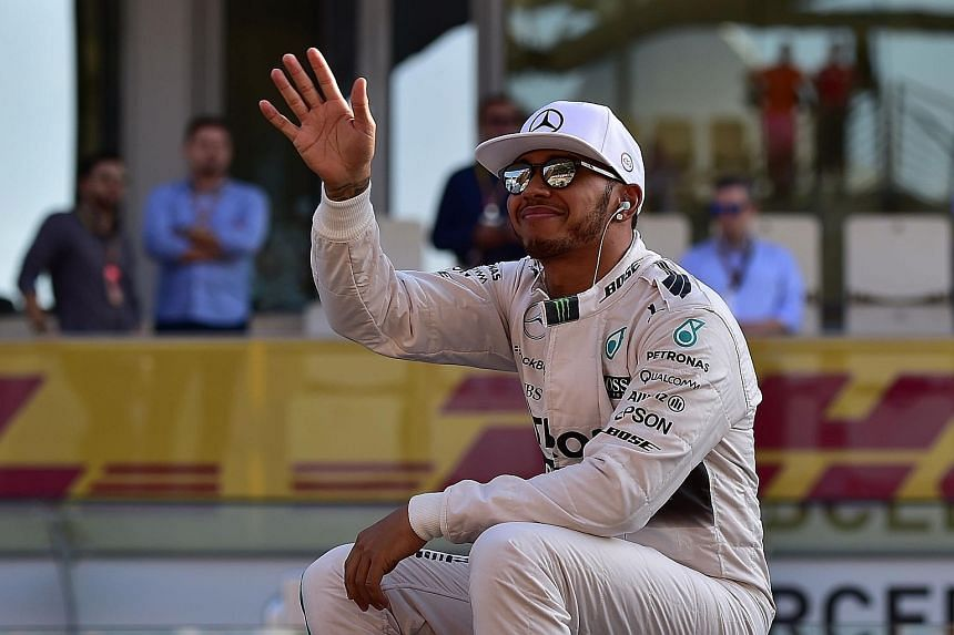 A relaxed Lewis Hamilton before the start of the season's final race in Abu Dhabi. After securing his third championship in Austin, Texas, he was beaten by team-mate Nico Rosberg in Mexico, Brazil and Abu Dhabi.
