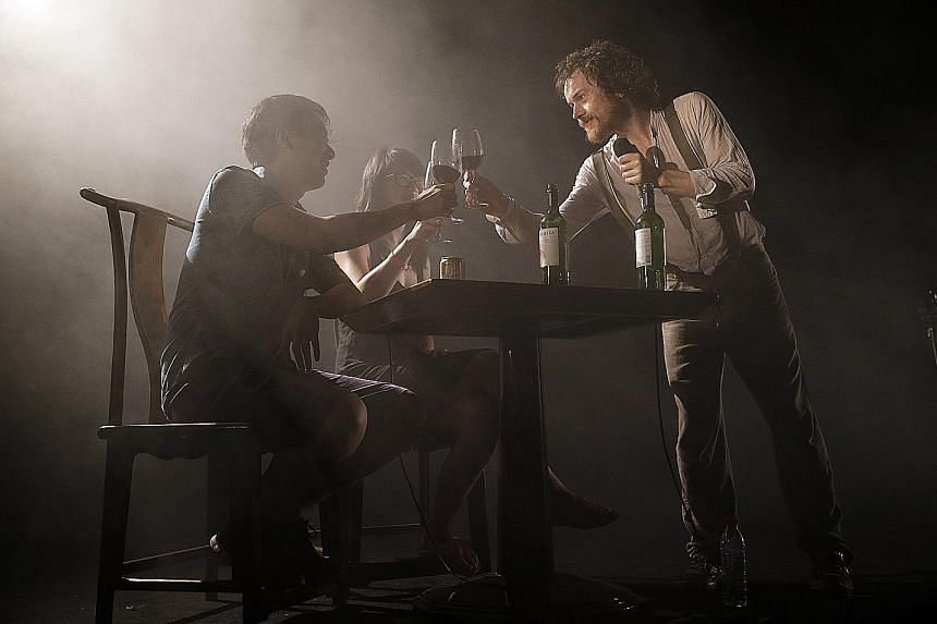 Ratatat (left) were one of the genre-defying acts, while Damien Rice (below right) enjoyed wine with two fans on stage as he sang Cheers Darlin'.