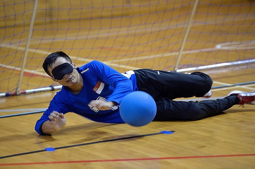 Singapore goalball player Kelvin Tan, the first winner of Project Superstar, pictured at a recent training session. The Republic's goalball team was formed this year for the Asean Para Games.