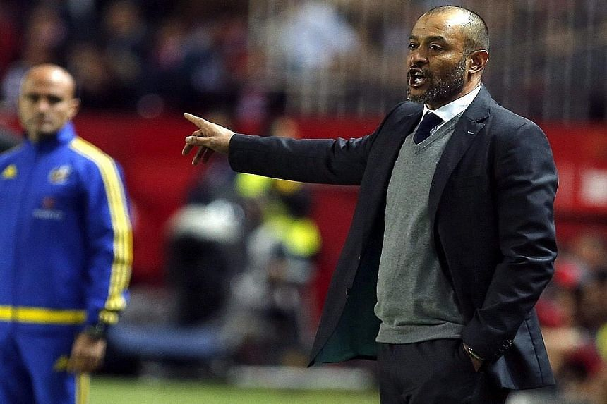 Portuguese coach Nuno Espirito Santo giving instructions during his final game coaching Valencia. Frank Rijkaard and Michael Laudrup are the front runners to take charge at the Mestalla.
