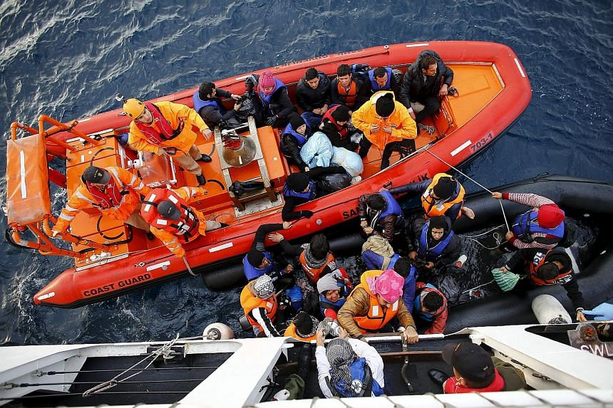 Refugees boarding a Turkish Coast Guard ship off the shores of Canakkale, Turkey, after a failed attempt at crossing to the Greek island of Lesbos last month. Turkey is the main gateway for migrants to reach Europe.