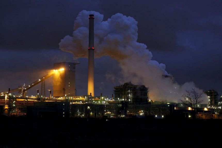 The ThyssenKrupp Steel Europe AG coking plant and blast furnace in Duisburg, Germany, in January, 2014.