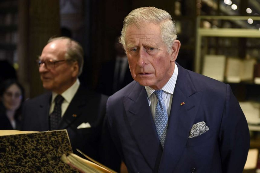 Britain's Prince Charles visits the French Academy's library after being awarded the Francois Rabelais prize on Monday.