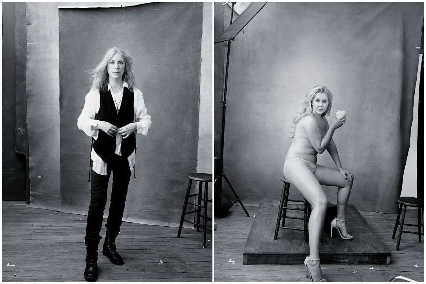Patti Smith (left) is featured in the month of November of the 2016 Pirelli calendar while Amy Schumer is featured in December.