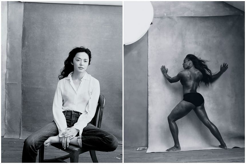 Yao Chen (left) is featured in the Foreward of the 2016 Pirelli calendar (left), and Serena Williams in the month of April.