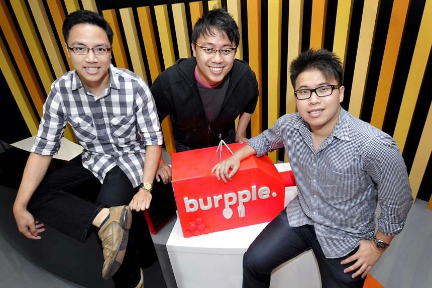 (From left) Mr Daniel Hum, Mr Elisha Ong and Mr Dixon Chan, co-founders of Burrple.