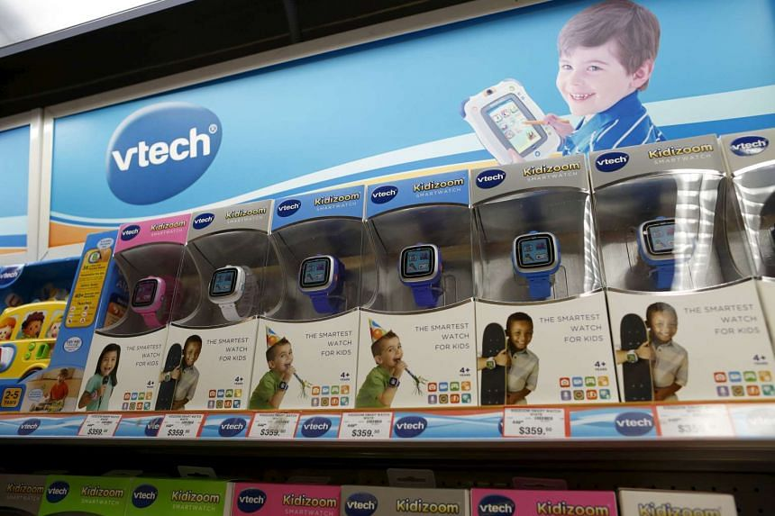 VTech Kidizoom Smartwatches are seen on display at a toy store in Hong Kong on Nov 30.
