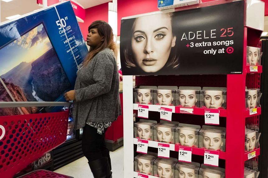 A display of Adele CDs at the checkout of a Target in the US on Nov 26.
