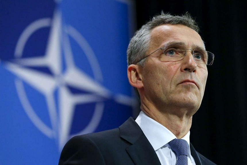 Nato Secretary-General Jens Stoltenberg holds a news conference during a meeting of the alliance's foreign ministers.