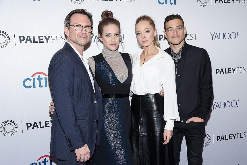 Mr Robot's (above, from left) Christian Slater, Carly Chaikin, Portia Doubleday and Rami Malek; and actor Will Forte in The Last Man On Earth.
