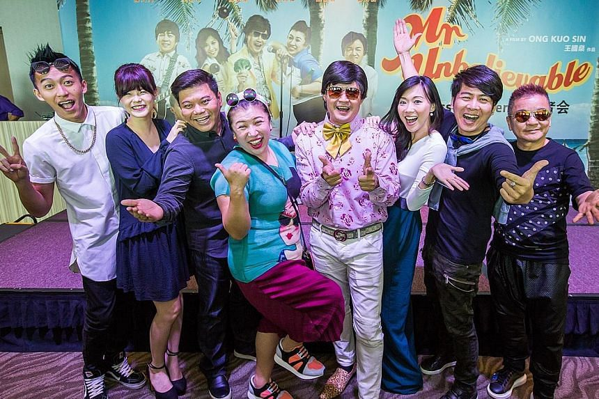 Chen Tianwen (fifth from left) with director Ong Kuo Sin (third from left) and the cast of Mr Unbelievable (from left) Tosh Zhang, Hayley Woo, Liu Lingling, Jaime Teo, Roy Loi and Marcus Chin.