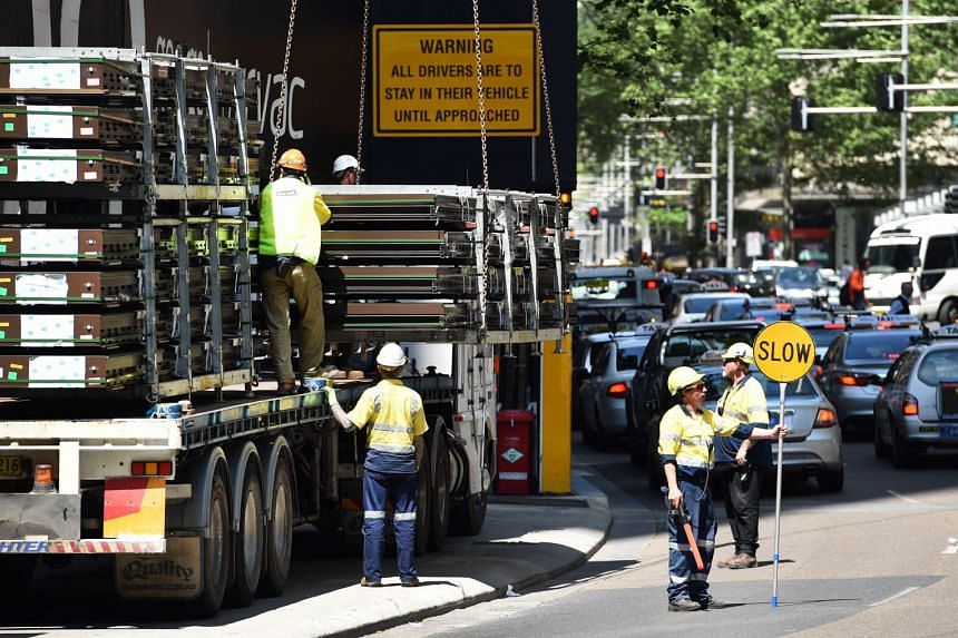 People working in Sydney's central business district on Oct 15.