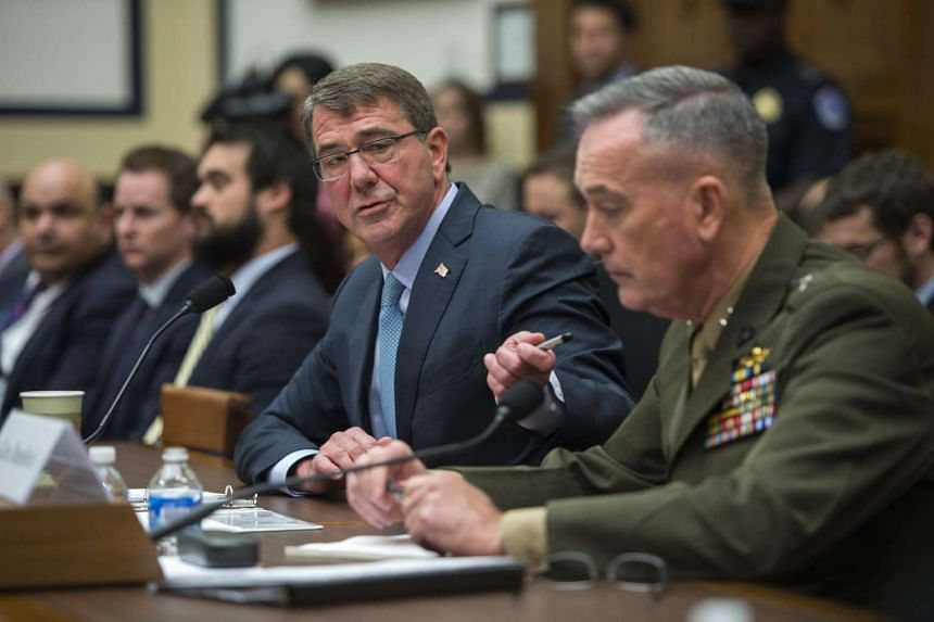 US Secretary of Defence Ashton Carter (second from right) testifies before the House Armed Services Committee hearing on US strategy in Syria and Iraq.