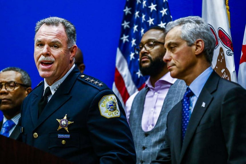 Police chief McCarthy (left) and Mayor Rahm Emanuel announce the release of a dash cam video of the fatal shooting.