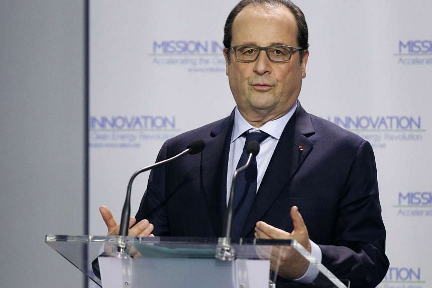 French President Francois Hollande delivering a speech during the opening day of the World Climate Change Conference 2015 on Nov 30, 2015.