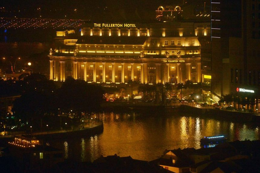 The Fullerton Hotel all lit up.