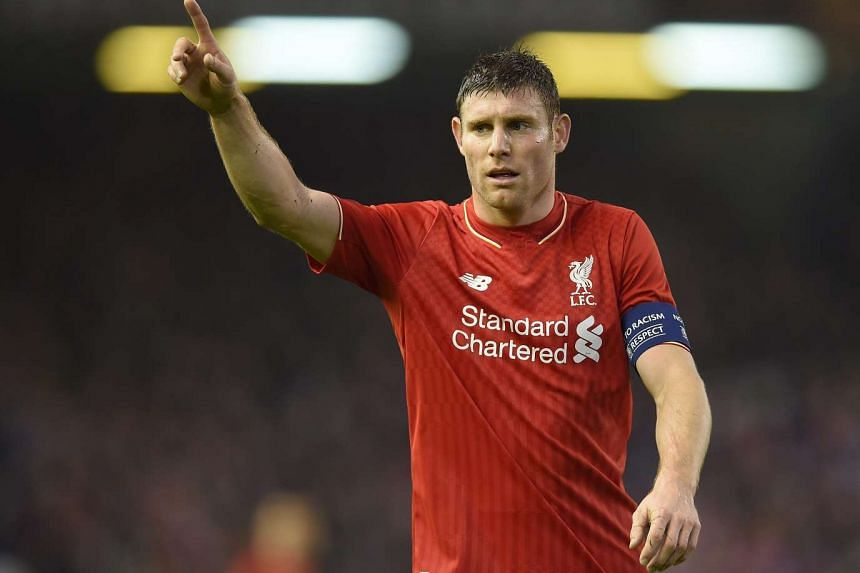 James Milner reacts during the Uefa Europa League match between Liverpool and Bordeaux.