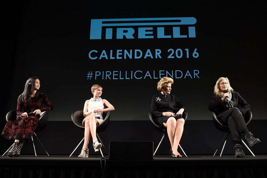 From left: Chinese actress Yao Chen, US magazine editor and actress Tavi Gevinson, US philanthropist Agnes Gund and photographer Annie Leibovitz on stage at the Pirelli 2016 Calendar presentation on Nov 30, 2015.