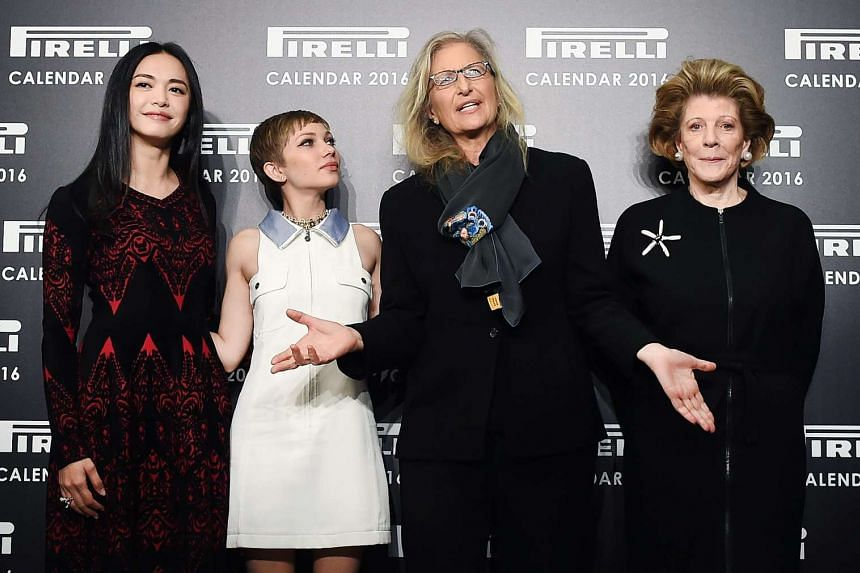 Photographer Annie Leibovitz (second, right) posing for pictures with Chinese actress Yao Chen (left), US magazine editor and actress Tavi Gevinson (second, left) and US philanthropist, art patron and collector Agnes Gund (right) at the Pirelli 2016