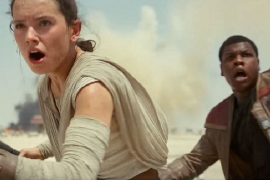 A screenshot from the official trailer for Star Wars: The Force Awakens.