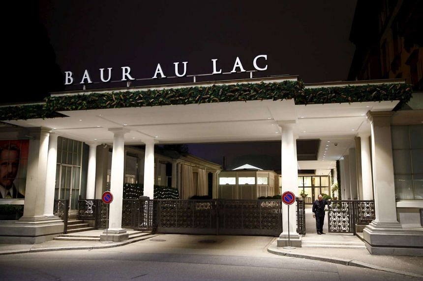 The entrance of the Baur au Lac hotel, where Swiss police arrested FIFA officials.