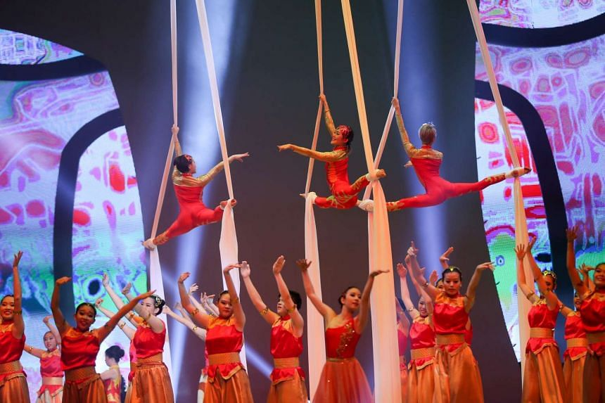 Aerial acrobats and dancers performing at the opening ceremony of the Asean Para Games on Dec 3, 2015.