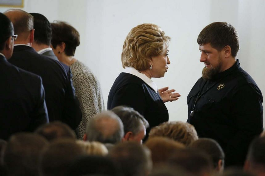 Chairwoman of the Russia's Federation Council Valentina Matviyenko talks to Chechen Republic Head Ramzan Kadyrov.