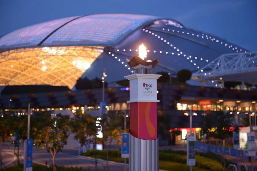 The lighted pedestral of the 8th ASEAN Para Games at the Sports Hub Water Sports Centre, Dec 3, 2015.