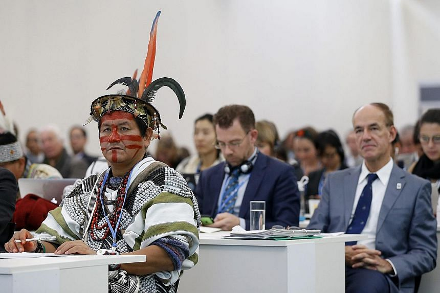 A Peruvian visitor attending a press conference on deforestation at the COP21 World Climate Change Conference 2015 in Le Bourget, north of Paris, France, on Tuesday. The 21st Conference of the Parties (COP21) started on Monday and ends on Dec 11. It
