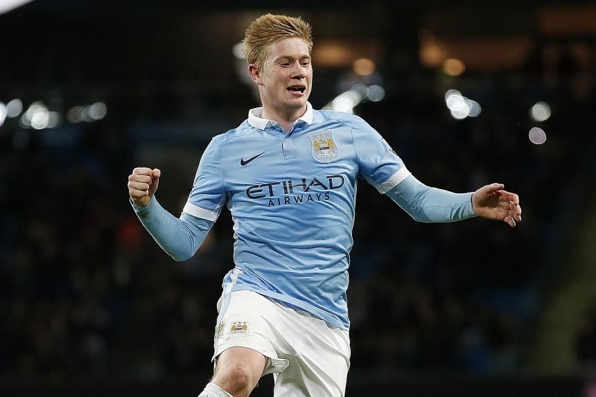 Kevin de Bruyne celebrates after scoring the final goal for Manchester City in the 4-1 win against Hull City in the League Cup encounter at the Etihad Stadium on Tuesday.