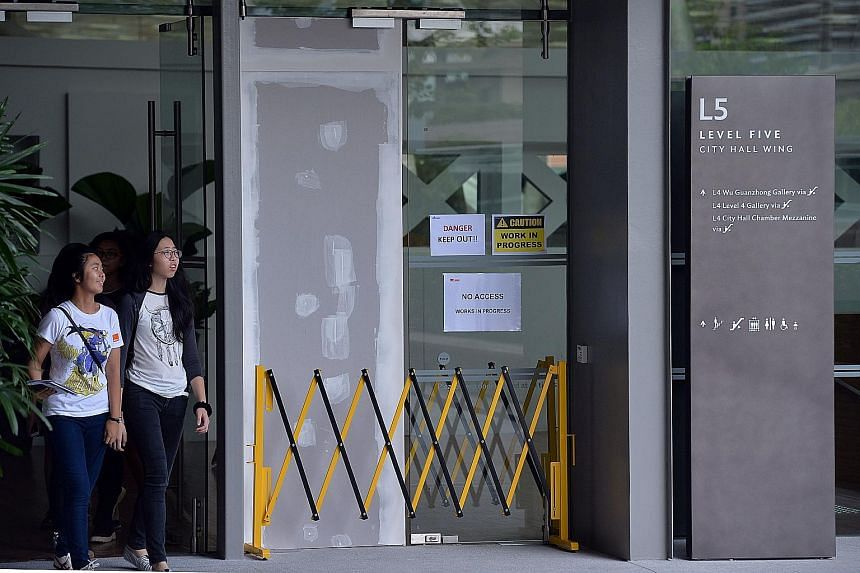 Tuesday's accident at the newly opened National Gallery Singapore left one man with minor abrasions on his right hand. A spokesman for the gallery said that there is no set date for the glass door to be repaired.