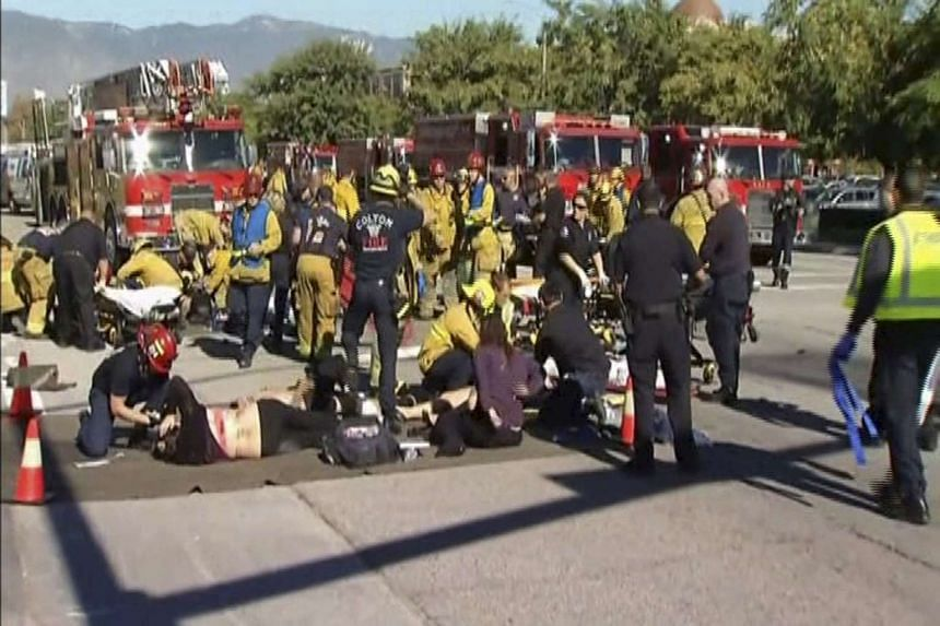 Rescue crews tend to the injured in a still image taken from video.