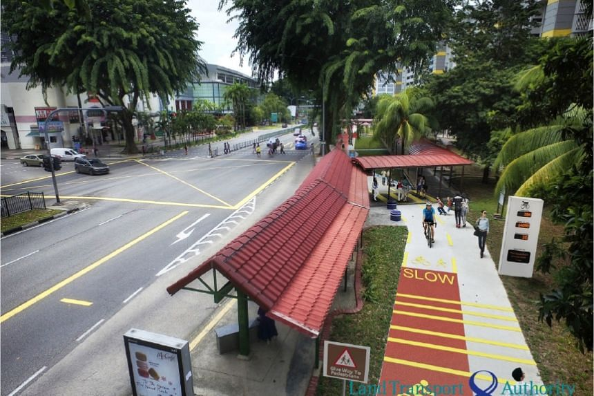 Pedestrian priority zones in areas such as bus stops will be marked out in red.